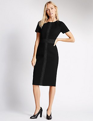 Contrasting Stitch Short Sleeve Shift Dress, BLACK, catlanding
