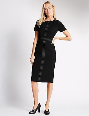 Stitched Shift Dress, BLACK, catlanding
