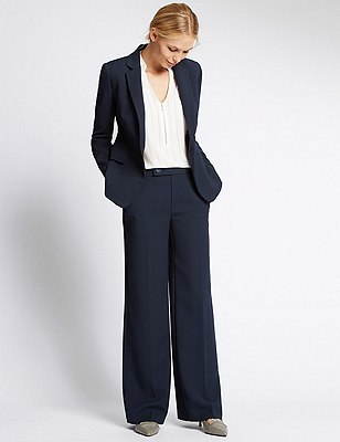 Tailored Fit Stitched Crepe Jacket with Buttonsafe™, , catlanding