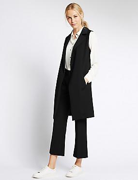 Sleeveless Longline Jacket, BLACK, catlanding