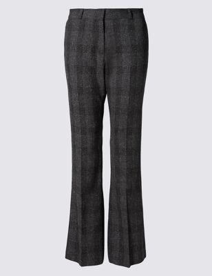 Узкие текстурные брюки буткат в клетку M&S Collection T592191B