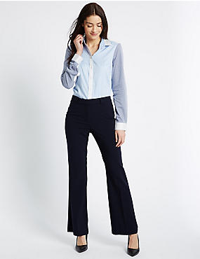 Slim Boot-Cut Trousers, NAVY, catlanding
