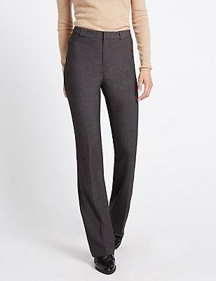 Slim Boot-Cut Trousers, CHARCOAL, catlanding