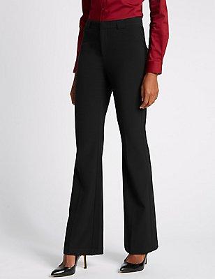 Slim Boot-Cut Trousers, BLACK, catlanding