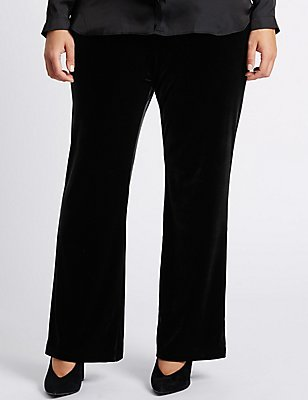 PLUS Velvet Wide Leg Trousers, BLACK, catlanding