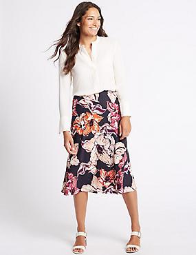 Floral Print A-Line Midi Skirt, NAVY MIX, catlanding