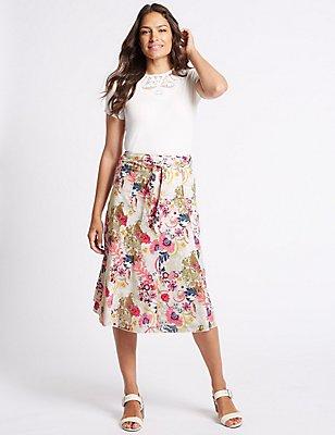 Pure Cotton Floral Print A-Line Midi Skirt, IVORY MIX, catlanding