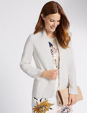Long Sleeve Linen Blazer, CREAM, catlanding