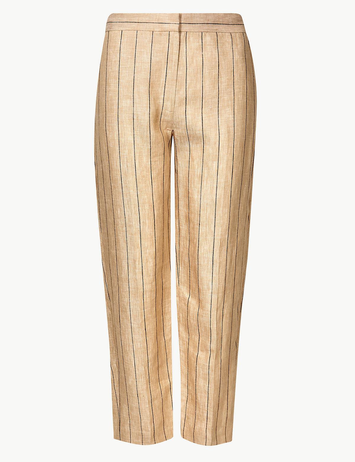 Женские льняные брюки укороченные