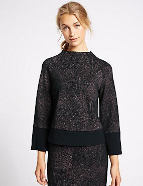 Printed Ponte Long Sleeve Shell Top, BLACK MIX, catlanding