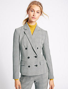 Checked Double Button Jacket, GREY MIX, catlanding