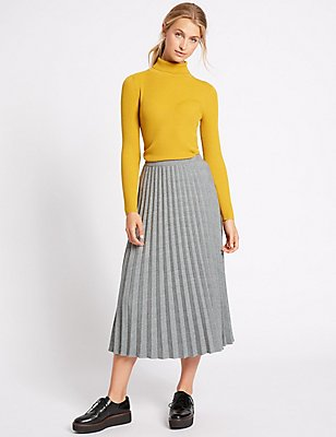 Checked Pleated Midi Skirt, GREY MIX, catlanding