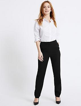 PETITE Ponte Slim Leg Trousers, BLACK, catlanding