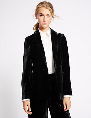 Velvet Single Button Jacket, BLACK, catlanding