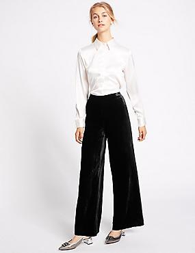 Velvet Wide Leg Trousers, BLACK, catlanding