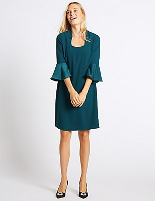 Flared Sleeve Shift Dress, TEAL, catlanding