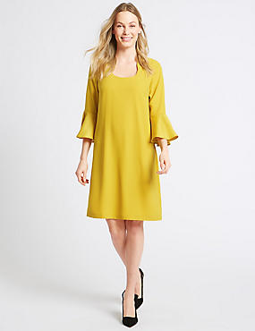 Flared Sleeve Shift Dress, OCHRE, catlanding