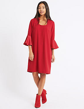 Flared Sleeve Shift Dress, LIPSTICK, catlanding