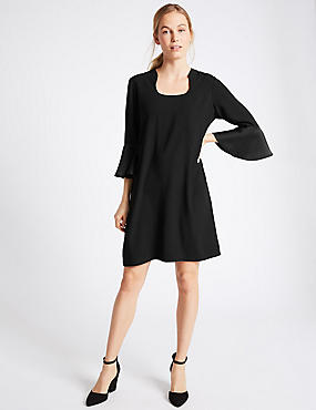 Flared Sleeve Shift Dress, BLACK, catlanding
