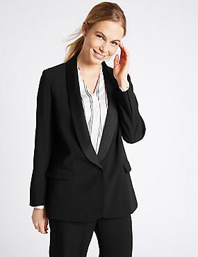 1 Button Tuxedo Blazer, BLACK, catlanding
