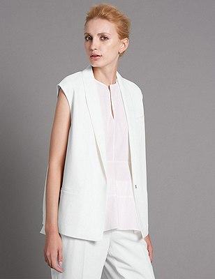 Tailored Fit Sleeveless Tuxedo Jacket, SOFT WHITE, catlanding
