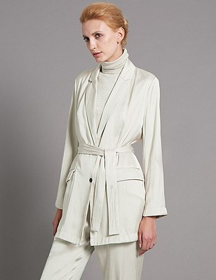 Loose Fit Unstructured Belted Jacket, OYSTER, catlanding