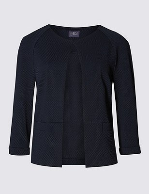 3/4 Sleeve Textured Jacket, NAVY, catlanding