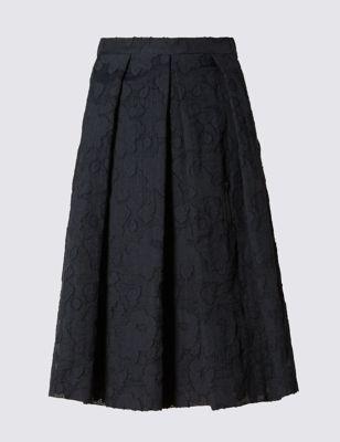 Юбка А-силуэта со складками и набивным рисунком M&S Collection T592886S