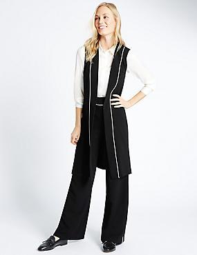 Contrast Piped Sleeveless Waistcoat, BLACK MIX, catlanding