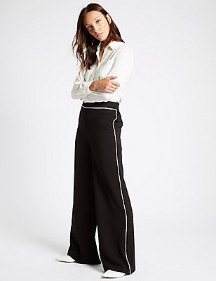 Contrast Piped Palazzo Wide Leg Trousers, BLACK MIX, catlanding