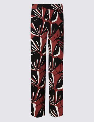 Широкие брюки с крупным растительным принтом M&S Collection T592896T
