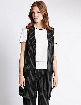 Loose Fit Pinstripe Sleeveless Jacket, BLACK MIX, catlanding