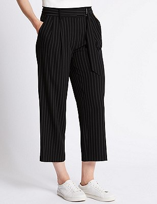 Pinstriped Cropped Trousers, BLACK MIX, catlanding