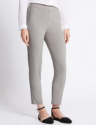 4-Way Stretch Tailored Fit Slim Leg Trousers, GREY, catlanding