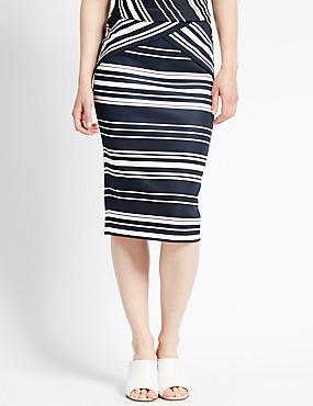 Slim Fit Striped Scuba Pencil Skirt, NAVY MIX, catlanding