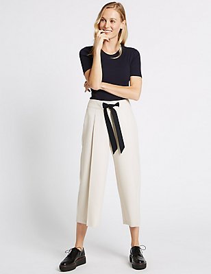 Contrast Tie Waist Cropped Culottes, BEIGE MIX, catlanding