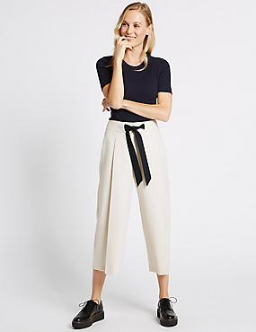 Jupe-culotte coupe courte avec cordon contrasté à nouer à la taille, BEIGE ASSORTI, catlanding