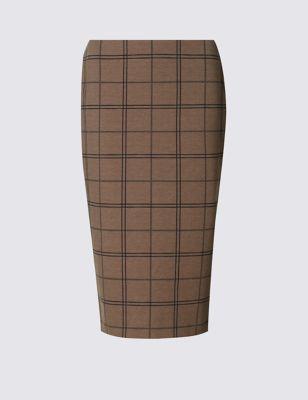 Трикотажная юбка-карандаш в клетку M&S Collection T592906S