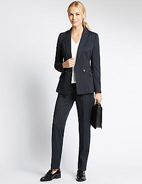 Pinstripe Double Breasted Jacket, NAVY MIX, catlanding