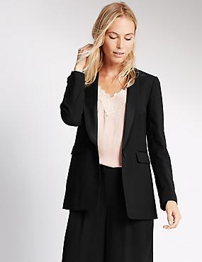 Long Sleeve Satin Jacket with Buttonsafe™, BLACK, catlanding