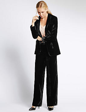 Tailored Fit Soft Velvet Jacket , BLACK, catlanding