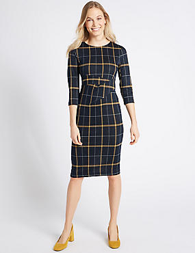 Cotton Blend Checked Twist Side Pencil Dress, NAVY MIX, catlanding