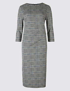 Cotton Blend Checked Twist Side Pencil Dress, GREY MIX, catlanding