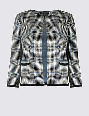 Checked Jersey Blazer, GREY MIX, catlanding