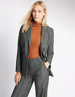 Double Breasted Checked Jacket with Buttonsafe™, GREY MIX, catlanding