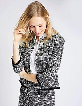 Jersey Tweed Fringe Jacket , NAVY MIX, catlanding