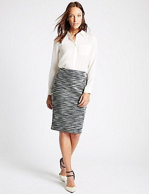 Textured Tweed Pencil Skirt   , NAVY MIX, catlanding