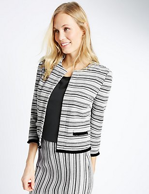 Striped Fringe Jacket, BLACK MIX, catlanding
