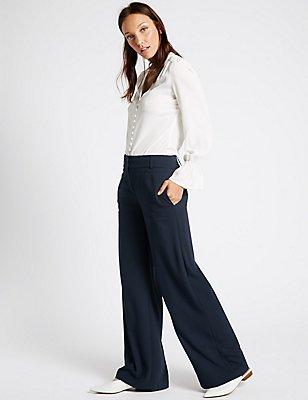 Wide Leg Crepe Trousers, NAVY, catlanding