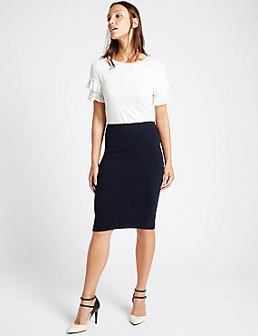 Ribbed Split Back Pencil Skirt, NAVY, catlanding